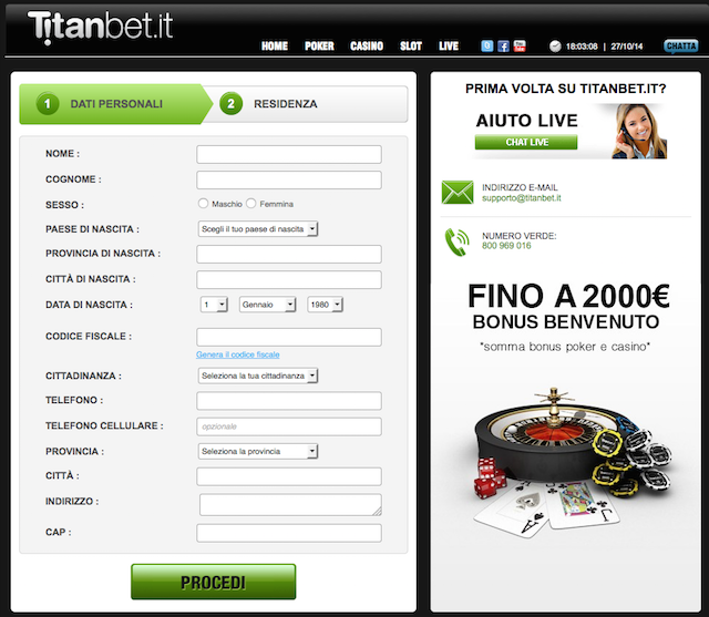 Titanbet.it registration