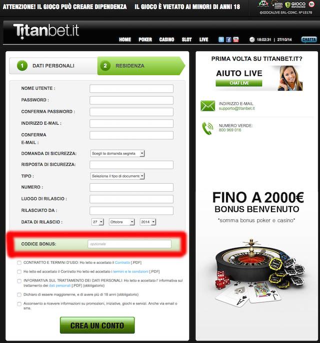 registrati su titanbet